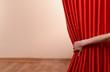 Leinwandbild Motiv Red Curtain on wall background