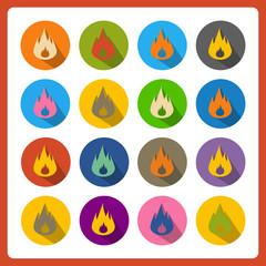Cartoon flat flames web icons.