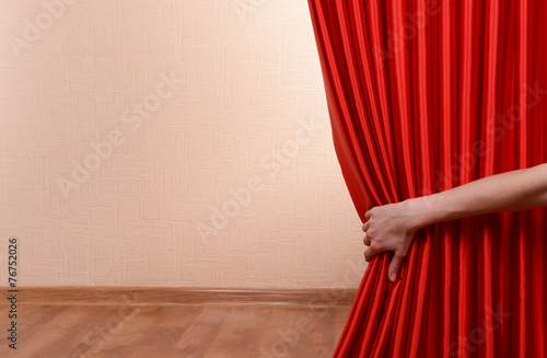 Red Curtain on wall background - 76752026