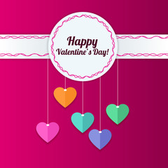 Happy Valentine`s Day greeting card with hearts background. Vect