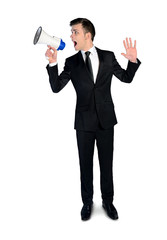 Business man with megaphone