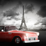 Effel Tower, Paris, France and retro red car. Black and white