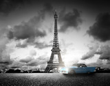 Effel Tower, Paris, France and retro car. Black and white - 76753466