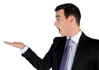 Business man surprised  with empty palm