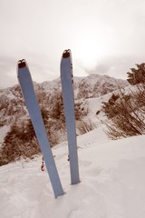 Pair of skis in snow