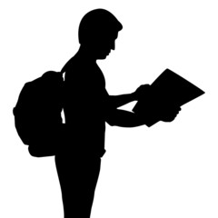 Silhouette of backpacker with map, vector format