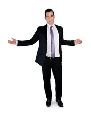 Business man welcome gesture