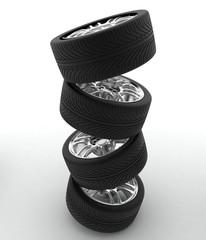 Car Wheels. Concept design. 3D render Illustration ground.