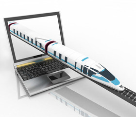 Train coming out of a laptop. 3d render illustration