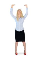 Business woman push something