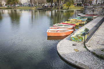 Campo Grande garden with a lake and boats in Lisbon, Portugal