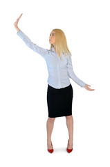 Business woman holding something up