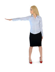 Business woman with hand side