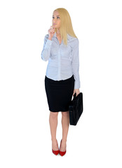 Business woman think solution