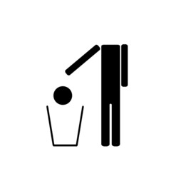 The man throws in the trash his head