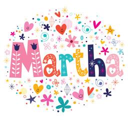 Martha female name decorative lettering type design