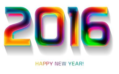 Happy new year 2016, typographic illustration.
