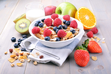 Breakfast with muesli and fruit