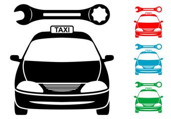 Pictograma reparacion de taxis en varios colores