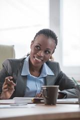 Businesswoman workplace planning