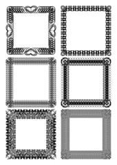 Set of blank square lace frames in black and white