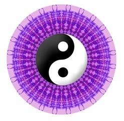 Purple vector mandala with jin jang symbol