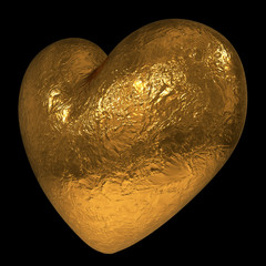Abstract 3D golden heart isolated on black