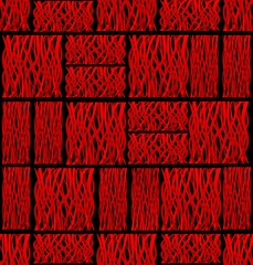 Abstract background tile with red square line patterns on black