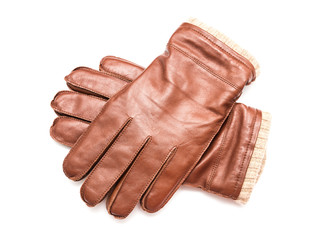 Pair Of Brown Leather Gloves Isolated