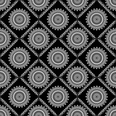 Background tile with fine lace patterns in white and black