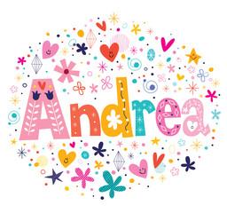 Andrea female name decorative lettering type design