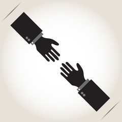 Helping Hands, with shadow on gray background