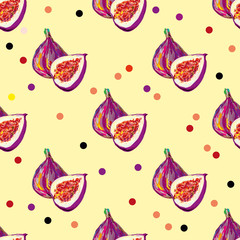 Seamless elegant pattern with tasty fig