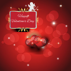 Festive red background with two hearts