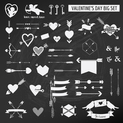 Valentine's Day Set - on chalk boarder - Hearts, Arrows, Keys