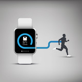 Fitness tracker application for smart watch concept with poster