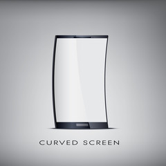 Curved or flexible blank realistic smartphone. Promotional and