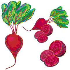 Fresh beetroot with leaves