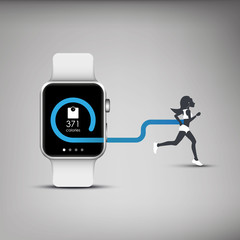 Fitness tracker application for smart watch concept with