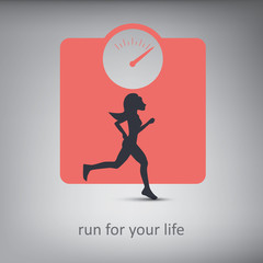 Running or jogging concept illustration. Silhouette of a person