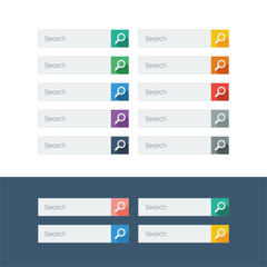 Set of search flat design icons in colorful bars for graphic