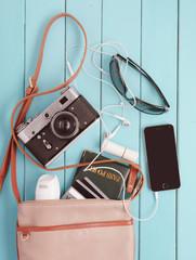 female bag with of personal belongings