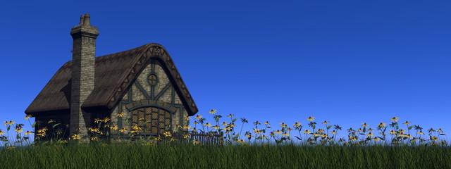 Cottage in spring - 3D render