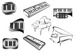 Outline sketch piano music icons - 76760620