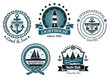 Vintage marine emblems or labels  in blue and white - 76760674