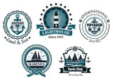 Vintage marine emblems or labels  in blue and white