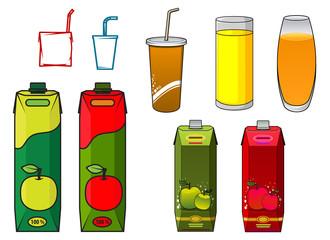 Apple juice design elements in cartoon style