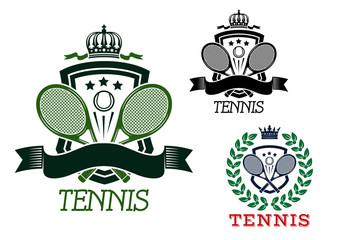 Tennis heraldic emblems on crowned shields