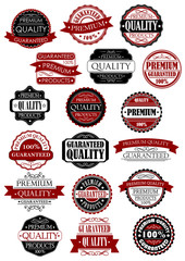 Red and black quality guarantee labels or banners