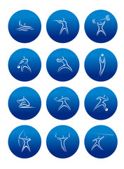 Sporting round icons with silhouettes of athletes